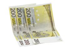 200 euro banknotes over white Stock Image