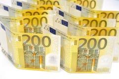200 euro geldachtergrond. Stock Afbeeldingen