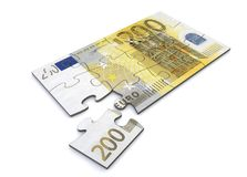 200 Euro Note Puzzle. 200 Euro note as a puzzle - one piece seperately Stock Photos