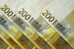 200 euro notes. Six bills of 200 placed diagonally stock photos