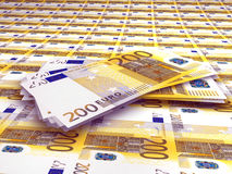 200 Euro Notes. A background with a view of 200 Euro note Royalty Free Stock Photos