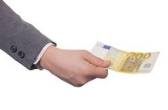 200 Euros in der Hand Lizenzfreies Stockfoto