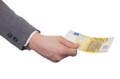 200 in hand euro Royalty-vrije Stock Foto