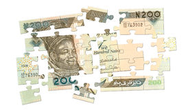 200 Naira Bargeld-Puzzlespiel Stockfotos