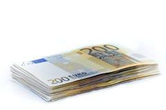 200 notas euro Fotos de archivo libres de regalías