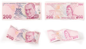 200 Turkish Banknotes - clipping path. Both sides of a 200 Turkish Lira, curved and flat (clipping path for maximum size Stock Illustration