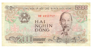2000 cuentas del dong de Vietnam, 1988 Imagen de archivo libre de regalías