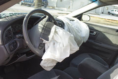 2000 Ford Taurus Air Bags Deployed. 2000 Ford Taurus with deployed front air bags. This model of automobile is the same from 2000 to 2007 Stock Image