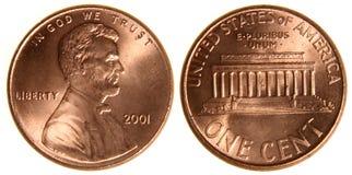美国便士从2001年 库存照片