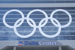 2002 Winter Olympics. Salt Lake City, Utah, 2002 Winter Olympics, Olympic Rings, Delta Center Stock Photography