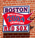 2004 World Series Champions. World Series Championship from 2004 hangs outside Fenway Park, Boston, MA Stock Photos
