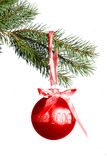 2006 christmas. A beautiful red christmas ball hanging from a evergreen branch stock images