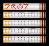 2007日历没有符号抽烟 库存例证