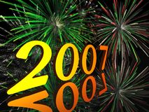 2007. In 3d with a fireworks background Stock Image