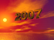 2007. Text in 3d against colorful sky stock illustration
