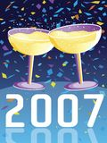 2007. Vector illustration with two glasses of Champagne in a New Year celebration Stock Image