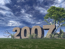 2007. Rock on green field - 3d illustration Royalty Free Stock Images