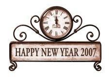2007 ans neufs heureux avec le chemin sur l'horloge Image libre de droits
