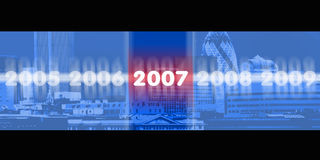 2007 city. An image showing the years 2005 2006 2007 2008 and 2009 against a city finance scape Stock Image