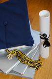 2007 graduation. Cap and books Royalty Free Stock Image