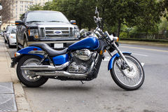 2007 Honda Shadow Aero Motorcycle. Twin cylinder 2007 Honda Shadow Motorcycle.  Beautiful electric blue.  A fine example of a well kept street bike Stock Image