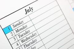 2007 kalender juli Arkivfoto