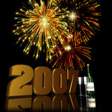 2007 New Year Fireworks 2. Fireworks displayed behind a 3D 2007 with reflections Royalty Free Stock Image