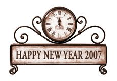 2007 nuovi anni felici con il percorso sull'orologio Immagine Stock Libera da Diritti