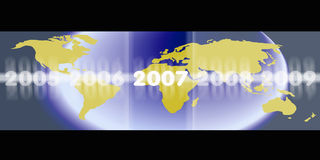 2007 world or globe. An image of the world or gloabe with the new years 2005 2006 2007 2008 2009 over the top Royalty Free Stock Photography