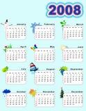 2008个日历垂直 免版税图库摄影