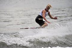 2008个杯子shortboard滑雪欺骗水妇女世界 免版税库存照片
