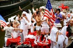 2008个美国人阿姆斯特丹小船运河游行 免版税库存图片