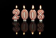 2008个蜡烛新年好 免版税库存照片
