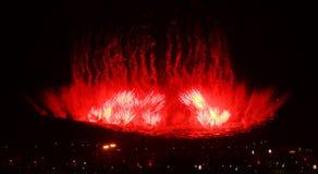 2008年北京ceremo奥林匹克firworks的比赛开张 图库摄影