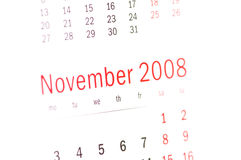 2008日历接近的11月 免版税库存照片