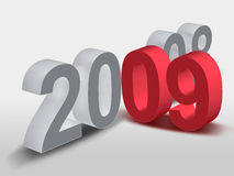 2008 - 09. New Year - 2009 with 3D Illustration Royalty Free Stock Photography