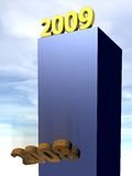 2008, 2009. New shiny year 2009 is coming, old rusty 2008 has to go royalty free illustration