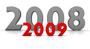 2008-2009. Transition with 2008 for 2009 new years stock illustration