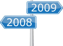2008 - 2009. 2008 and 2009 years of road direction sings Royalty Free Stock Photography
