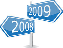 2008 - 2009. Signpost of 2008 and 2009 years Stock Image