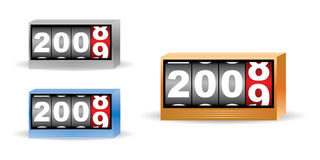 2008 2009 time set. Set of three clock timers for 2008 2009 time stock illustration