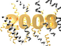 2008. 3d rendered illustration of golden numerics and ribbons Royalty Free Stock Photos
