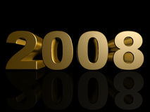 2008. 3d rendered illustration of a golden 2008 Stock Photography