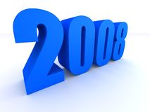 2008. 3d rendered illustration of a big blue 2008 Royalty Free Stock Image