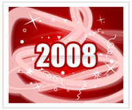 2008. New year, red background Royalty Free Stock Photography