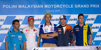 2008 5 cavalieri di Motogp alla conferenza stampa. Fotografia Stock Libera da Diritti