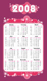 2008 abstract violet calendar. Cute calendar for 2008. Vertical format. Purple design Royalty Free Stock Photo