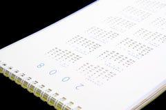 2008 Calendar. Closeup of year 2008 calendar on black background Stock Images