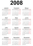 2008 calendar. 2008 Portuguese generic calendar A3, easy cropping for the busy designers who want to create their own designs, agendas, datebooks Stock Photography