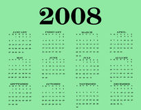 2008 Calendar. With a pretty green bottom Royalty Free Stock Photo